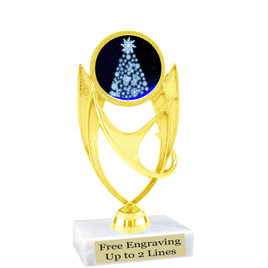 "Snowflake Tree theme  trophy with choice of base.  6"" tall  -ph28"