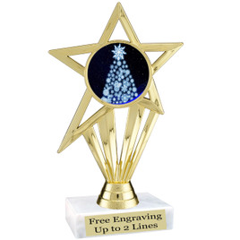 """Snowflake Tree theme  trophy with choice of base.  6"""" tall  -ph30"""