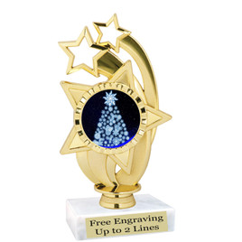 "Snowflake Tree theme  trophy with choice of base.  6"" tall  -ph55"