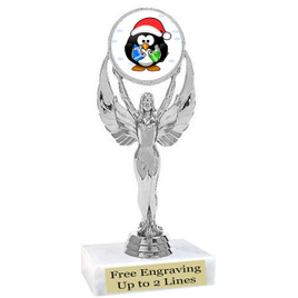 "Penguin  theme  trophy with choice of base.  6"" tall  -6010-s"