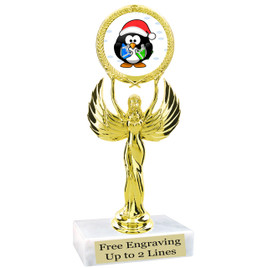 """Penguin  theme  trophy with choice of base.  6"""" tall  -80087"""