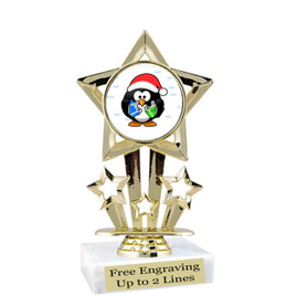"Penguin  theme  trophy with choice of base.  6"" tall  -f767"