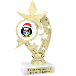 """Penguin  theme  trophy with choice of base.  6"""" tall  -h208"""