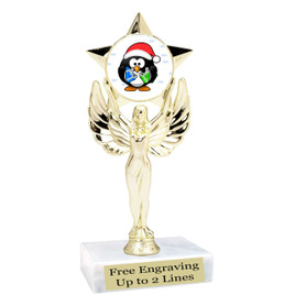 "Penguin  theme  trophy with choice of base.  6"" tall  -mf1080"