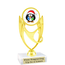 "Penguin  theme  trophy with choice of base.  6"" tall  -ph28"