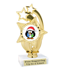 "Penguin  theme  trophy with choice of base.  6"" tall  -ph55"