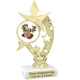 """Reindeer theme  trophy with choice of base.  6"""" tall  - h208"""