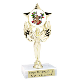 """Reindeer theme  trophy with choice of base.  6"""" tall  - mf1080"""