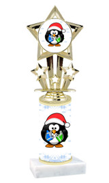 Penguin theme  trophy with choice of trophy height  with matching insert.  (767