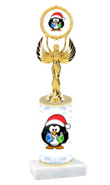 Penguin theme  trophy with choice of trophy height  with matching insert.  (80087
