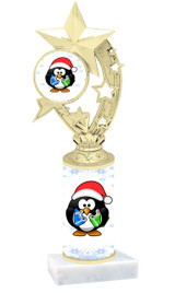 Penguin theme  trophy with choice of trophy height  with matching insert.  (h208