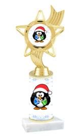 Penguin theme  trophy with choice of trophy height  with matching insert.  (ph27