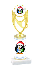 Penguin theme  trophy with choice of trophy height  with matching insert.  (ph28