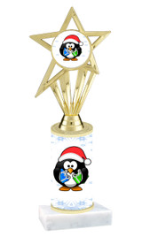 Penguin theme  trophy with choice of trophy height  with matching insert.  (ph30