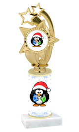Penguin theme  trophy with choice of trophy height  with matching insert.  (ph55