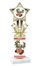 Reindeer theme  trophy with choice of trophy height  with matching insert.  (F767