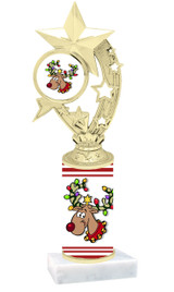 Reindeer theme  trophy with choice of trophy height  with matching insert.  (h208