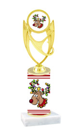 Reindeer theme  trophy with choice of trophy height  with matching insert.  (ph28