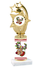 Reindeer theme  trophy with choice of trophy height  with matching insert.  (ph55