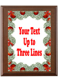 Christmas - Winter theme Custom Full Color Plaque.  Brown plaque with full color plate. 5 Plaques sizes available - Winter 006