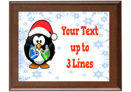 Christmas - Winter theme Custom Full Color Plaque.  Brown plaque with full color plate. 5 Plaques sizes available - Winter 007