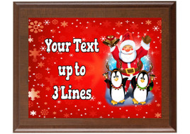 Christmas - Winter theme Custom Full Color Plaque.  Brown plaque with full color plate. 5 Plaques sizes available - Winter 010