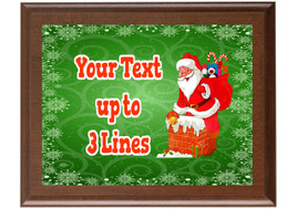 Christmas - Winter theme Custom Full Color Plaque.  Brown plaque with full color plate. 5 Plaques sizes available - Winter 011