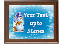Christmas - Winter theme Custom Full Color Plaque.  Brown plaque with full color plate. 5 Plaques sizes available - Winter 013
