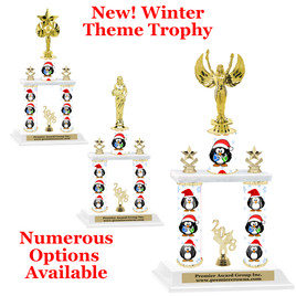 Winter theme  2-Column trophy.  Numerous trophy heights and figures available  (0010