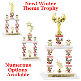 Winter theme  2-Column trophy.  Numerous trophy heights and figures available  (0011