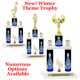 Winter theme  2-Column trophy.  Numerous trophy heights and figures available  (0013