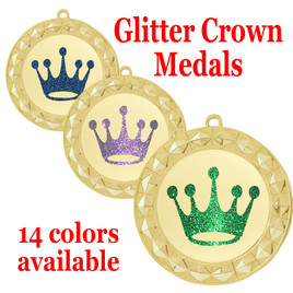 "Glitter Crown Medal.  	2 3/4"" diameter medal with choice of glitter color.  Includes free engraving and free neck ribbon   (935G)"