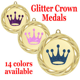 "Glitter Crown Medal.  	2 3/4"" diameter medal with choice of glitter color.  Includes free engraving and free neck ribbon   (9358g"