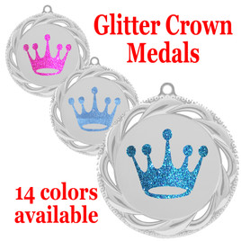 "Glitter Crown Medal.  	2 3/4"" diameter medal with choice of glitter color.  Includes free engraving and free neck ribbon   (938s"