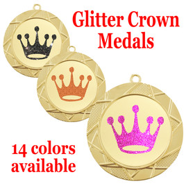 "Glitter Crown Medal.  	2 3/4"" diameter medal with choice of glitter color.  Includes free engraving and free neck ribbon   (940"