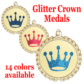 "Glitter Crown Medal.  	2 3/4"" diameter medal with choice of glitter color.  Includes free engraving and free neck ribbon   (m70"