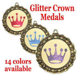 "Glitter Crown Medal.  	2 3/4"" diameter medal with choice of glitter color.  Includes free engraving and free neck ribbon   (md40g"