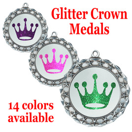 "Glitter Crown Medal.  	2 3/4"" diameter medal with choice of glitter color.  Includes free engraving and free neck ribbon   (md40s"