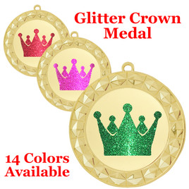 "Glitter Crown Medal.  	2 3/4"" diameter medal with choice of glitter color.  Includes free engraving and free neck ribbon.     2-935g"
