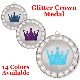 "Glitter Crown Medal.  	2 3/4"" diameter medal with choice of glitter color.  Includes free engraving and free neck ribbon.     2-935s"