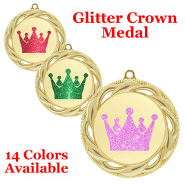 "Glitter Crown Medal.  	2 3/4"" diameter medal with choice of glitter color.  Includes free engraving and free neck ribbon.     2-938g"