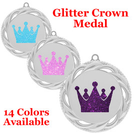 "Glitter Crown Medal.  	2 3/4"" diameter medal with choice of glitter color.  Includes free engraving and free neck ribbon.     2-938s"