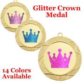 "Glitter Crown Medal.  	2 3/4"" diameter medal with choice of glitter color.  Includes free engraving and free neck ribbon.     2-940"