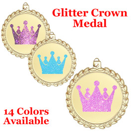 "Glitter Crown Medal.  	2 3/4"" diameter medal with choice of glitter color.  Includes free engraving and free neck ribbon.     2-m70"