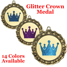 "Glitter Crown Medal.  	2 3/4"" diameter medal with choice of glitter color.  Includes free engraving and free neck ribbon.     2-md40g"