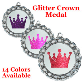 "Glitter Crown Medal.  	2 3/4"" diameter medal with choice of glitter color.  Includes free engraving and free neck ribbon.     2-md40s"