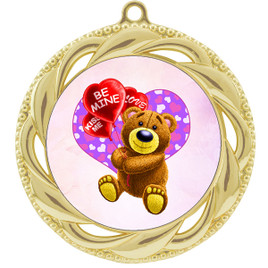 Valentine theme medal..  Includes free engraving and neck ribbon.   bear-938g