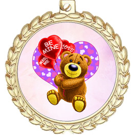 Valentine theme medal..  Includes free engraving and neck ribbon.   bear-m70g