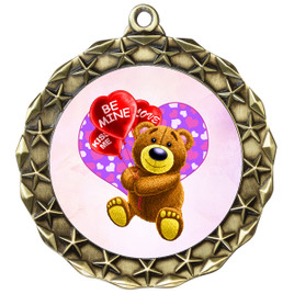 Valentine theme medal..  Includes free engraving and neck ribbon.   bear-md40ag