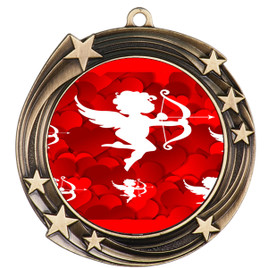 Valentine theme medal..  Includes free engraving and neck ribbon.   cupid - 930